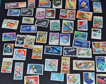 100 Space stamps from around the world many mint B70