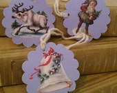 Christmas Gift Tags (6) - Prancer, Little Elf & a Bell, There's a Story There!  Victorian Images