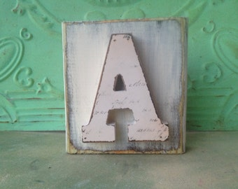 Distressed Ivory Letter A Hanger, Wooden Home Decor Letter A Sign, Rustic Ivory Initial A