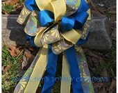 Blue & Yellow Floral Accent Bow