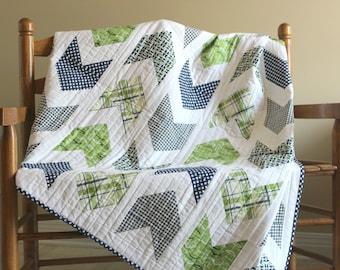 Lap Quilt, Pow Wow Quilt, Chevron Quilt, Modern Quilt, Throw Quilt