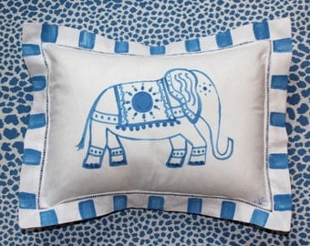 Blue and White Elephant Pillow Nursery Decor Guest Room Pillow Decorative Pillow Personalized Pillow