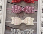 Valentines Day Glitter Bow Headbands Red Glitter Baby Bow Pink Glitter Baby Bows Newborn Headbands Photography Props Glitter Bows Baby Gifts