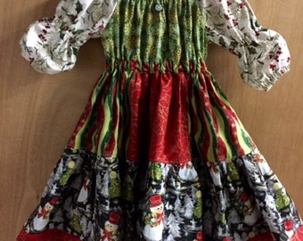 Christmas Dress, Peasant Style Patchwork, size 4t