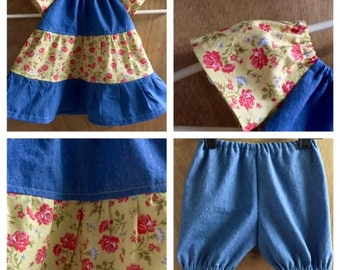 Infant Boho Denim Peasant Dress with Bloomers, size 6 months