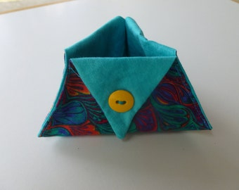 Turquoise abstract design thread catcher for sewing and craft projects