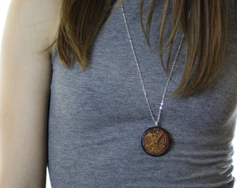 Purple Paisley Rustic Style Necklace // Silver Plated Long Chain // Gift for Her