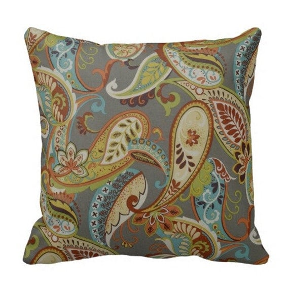 Coral Throw Pillows Etsy : Items similar to Outdoor paisley pillows,Patio Decor,Throw Pillows,outdoor Pillow covers ...