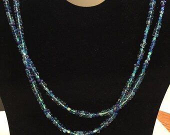 Double stranded blue necklace