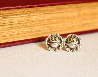 Rose Earring Studs, Available in Antique Silver and Aged Brass
