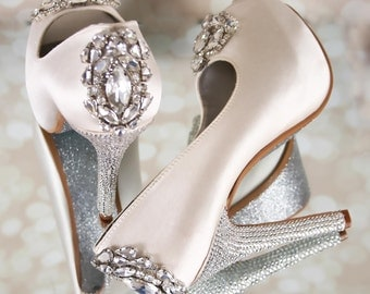 Custom Wedding Shoes, Peep Toes, Bling Wedding Shoes, Crystal Heels, Wedding Shoe Bling, Silver Shoes, Crystal Shoes, Ivory Wedding Shoes