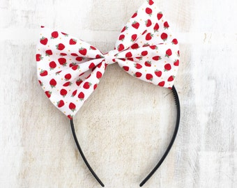 White with red mini strawberry print bow headband Rockabilly Pin up girl