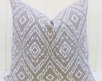 Tan Beige Pillow, Pillow Cover, Throw Pillow, Accent Pillow, Decorative Pillow, Ikat Geometric Pillow, Cushion Cover 18x18 inch