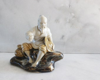 vintage japanese figurine fisherman, porcelain statue, chinoiserie home decor, made in japan