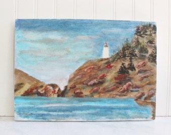 Vintage painting, acrylic seascape painting, art, vintage art, artwork, ocean, sea, nautical artwork, coastal