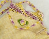 Vintage Handmade Clothespin Bag Crocheted Clothespin Holder Yellow and Purple Crochet Wash Cloth Closepin Storage