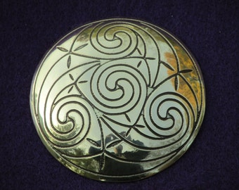 Handmade Large Metal Hair Tie Etched with Celtic Spirals in Brass - Ready to Ship