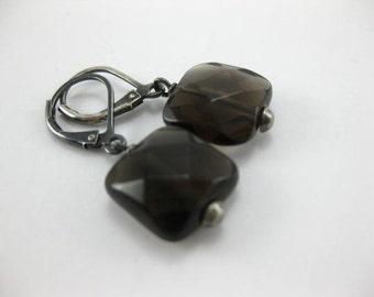 Smoky Quartz - Oxidized Sterling Silver Earrings - 5487
