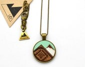 Patterned Mountain Necklace- Small Wood Necklace