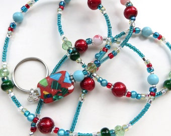 ELEGANT ART- Beaded ID Lanyard Badge Holder- Turkey Turquoise, Spectra Beads, and Sparkling Crystals (Necklace Clasp or Comfort Created)