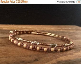 15%OFF VALENTINE SALE Macrame beaded memory wire wrap bracelet with gift envelope