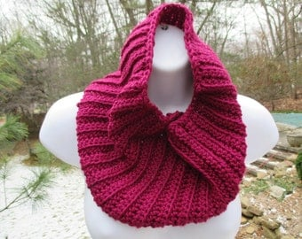 Crocheted Cowl - Berry - Soft Ribbed Neck Warmer, Infinity Scarf