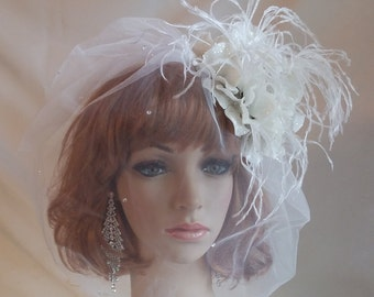 Bridal Hair Fascinator,Teardrop White Blusher,White Hydrangea Flower Bridal Fascinator,Ostrich Feather Bridal Fascinator