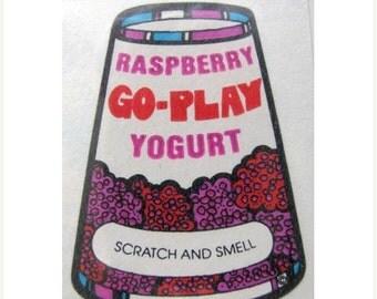 ON SALE Vintage Mello Smello Scratch and Sniff Berry Yogurt Sticker 80's