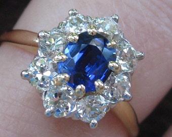 Antique Cushion Blue Sapphire European Diamond Daisy Cluster 14K Ring 1.70 TCW