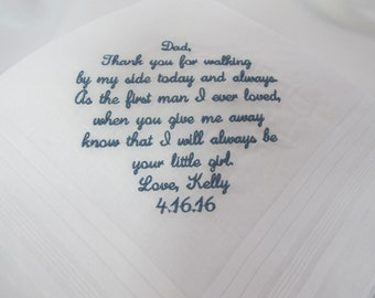 Wedding Handkerchief Embroidered and personalized for the Father of the Bride