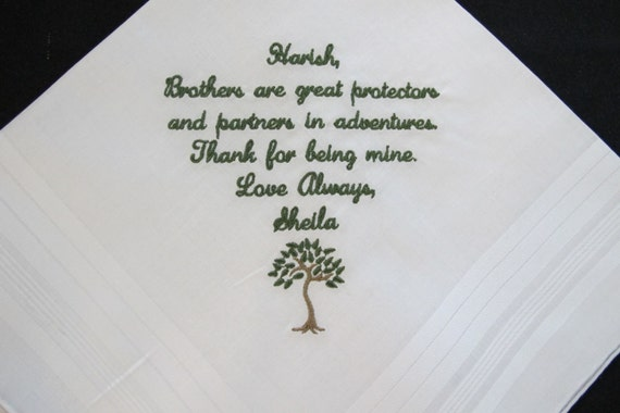 Embroidered Wedding Handkerchief for the Brother of the Bride