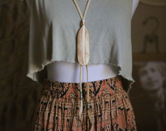 Bohemian Bone Feather Statement Necklace in Sand