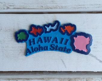 Vintage Hawaii Aloha Magnet / State Souvenir Refrigerator Magnet