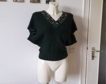 SALE 80s Forest green knit sweater sequined butterfly shape top