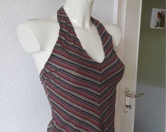 Boho Hippie Striped Cropped Neckholder Top