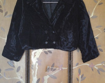 60s black velvet crop jacket