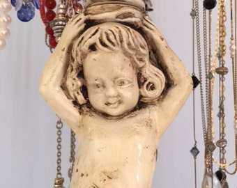 8-Arm Necklace Display on Cherub Base | Shabby | Victorian | Store Display | Gifts for Her | Exclusive Design | Lamp Parts