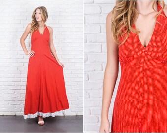Vintage 70s Red Boho Dress White Polka Dot Print Halter A Line Maxi Small S 5853