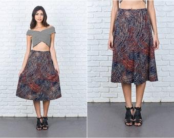 Vintage 70s Black Mod Skirt Swirl Geometric A Line XS Small S 7388