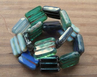 Blue Mix with Picasso Czech Pressed Glass Tabular Rectangle Beads 15x12mm New (15)
