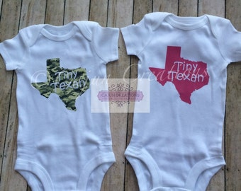 Texas baby clothes, baby bodysuit, Tiny Texan, camo, pink, home state bodysuit, baby shower gift, custom baby, all in one, Texas shirt