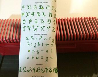 Sizzix Sizzlit Complete Alphabet Set  GARDEN DELIGHTS Alphabet Set in Case RARE and Retired