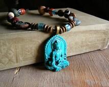 Lakshmi Pendant Necklace, Ethnic Mixed Beads Knot Statement Necklace, Hindu Colorful Jewelry, Ceramic Wood Bone Glass Trinket Charm Necklace