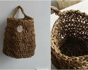 Wall Hanging Basket, Rough Crochet Basket, Earthy Primitive Storage, Rusic Wall Decor, Doorknob Tote Basket Catchall, Wall Art
