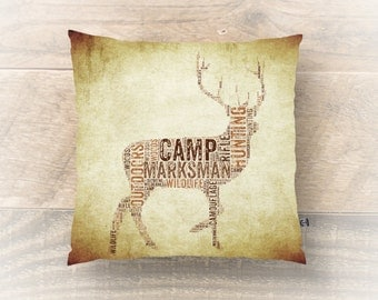 Hunting Throw Pillow Marksman Camp Country s Woodsy Home Decor Product Sizes and Pricing via Dropdown Menu