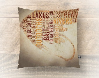 Fishing Throw Pillow Bait Fly Fishing Typography s Lake Cabin Cottage Home Decor Product Sizes and Pricing via Dropdown Menu