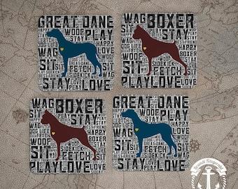 Coaster Set | Dog Breed   Any Breeds, Custom Available | Set of 4 Cork Back | Options at Checkout