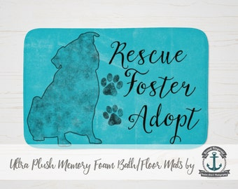 """Plush Bath Mat 34x21"""" - Pug Rescue Foster Adopt 