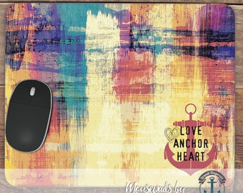 Mousepad: Love Anchor Heart | Abstract Nautical Beach House Decor | Handmade in USA Office Accessory