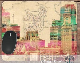 Mousepad: Boston City Skyline | Original Art Photo Quality Cityscape | Office Accessory